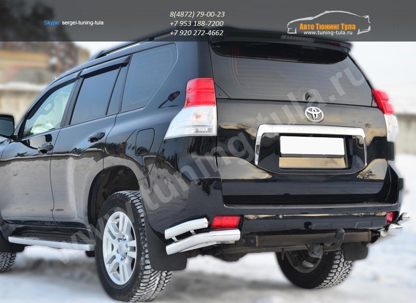 Защита заднего бампера уголки d76(секции) d63(секции) Land Cruiser Prado 150 2009-2012/арт.142