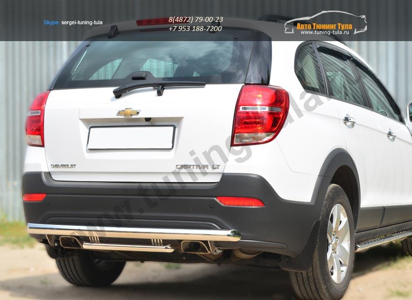 Chevrolet Captiva 2013- Защита заднего бампера d63 (дуга) d42 (дуга) декор-паз /арт.185