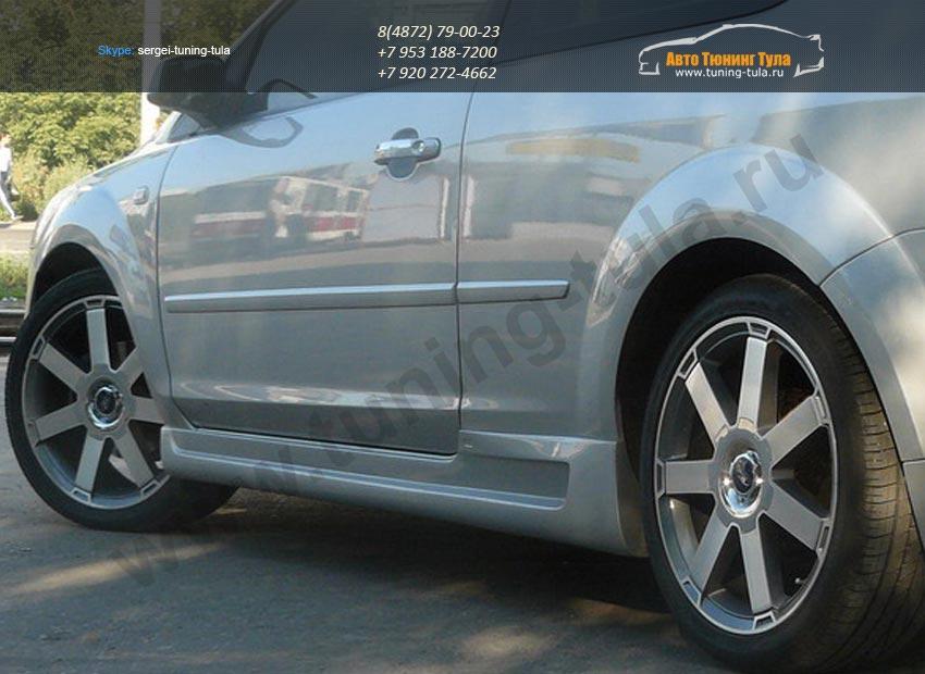 Накладки порогов Sport Ford Focus  2  (3 дверка ) 2004-2011/арт.214