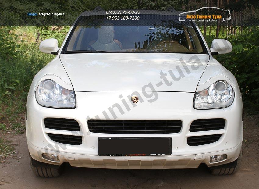 Накладки фар передние /ресницы/ Porsche Cayenne 955 2002-2010/арт.627-17