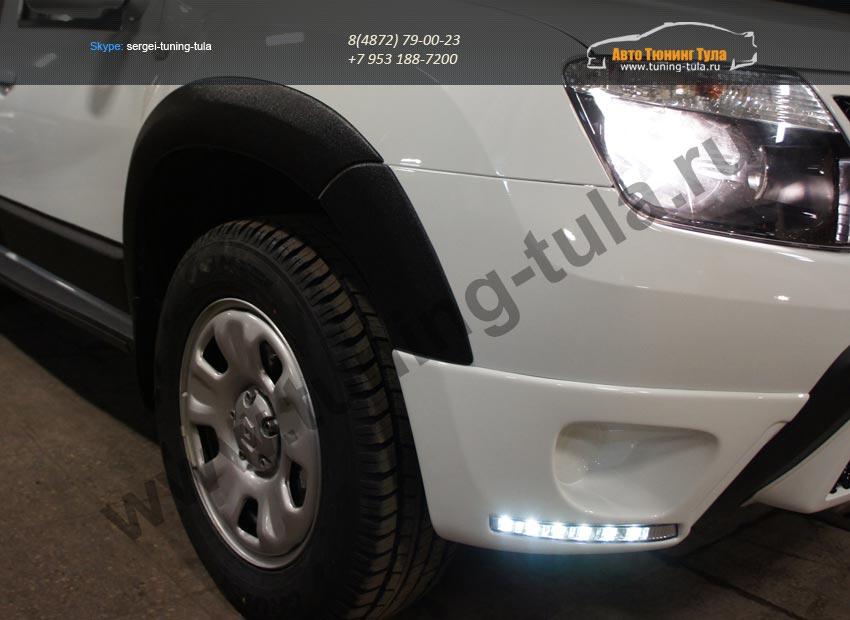 :: Renault Duster 2010-2014 Накладки на противотуманные фары (LED) /арт.260-5