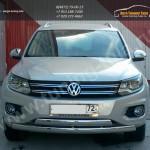Защита переднего бампера овальная двойная 75x42 VW TIGUAN