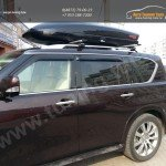 Автомобильный бокс Yakima SkyBoxPro 18 Onix Black 510L 234x91x41 см отрытие с двух сторон + Багажник на Рейлинги THULE WingBAR
