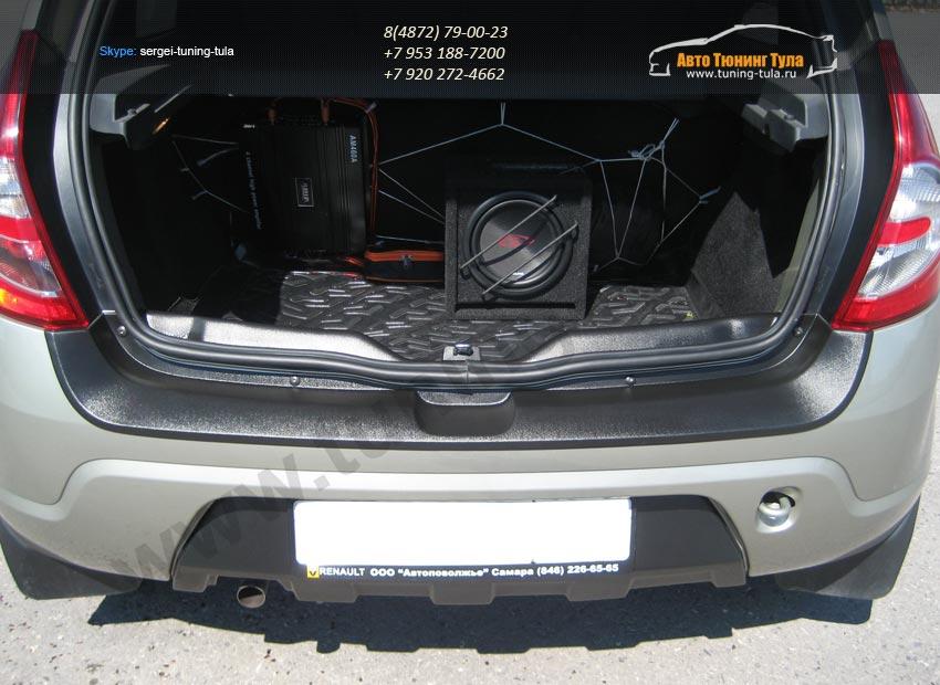 Защита заднего порожка и бампера от царапин KART РЕНО Сандеро,Степвей. Sandero Stepway 2009-2014 /арт.461