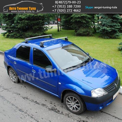 Багажник на крышу Рено Логан/Lux  с прямоугольными дугами/ арт.512