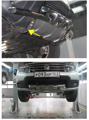 Инструкция по установке Защита переднего бампера с пластинами  d63/63 Рено Дастер/Duster 2010-2014/арт.545