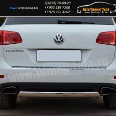 Защита бампера d75x42 овал  VW Туарег с 2010+ / арт.583-2