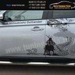 Пороги d76 с накладками Митсубиси OUTLANDER 2012