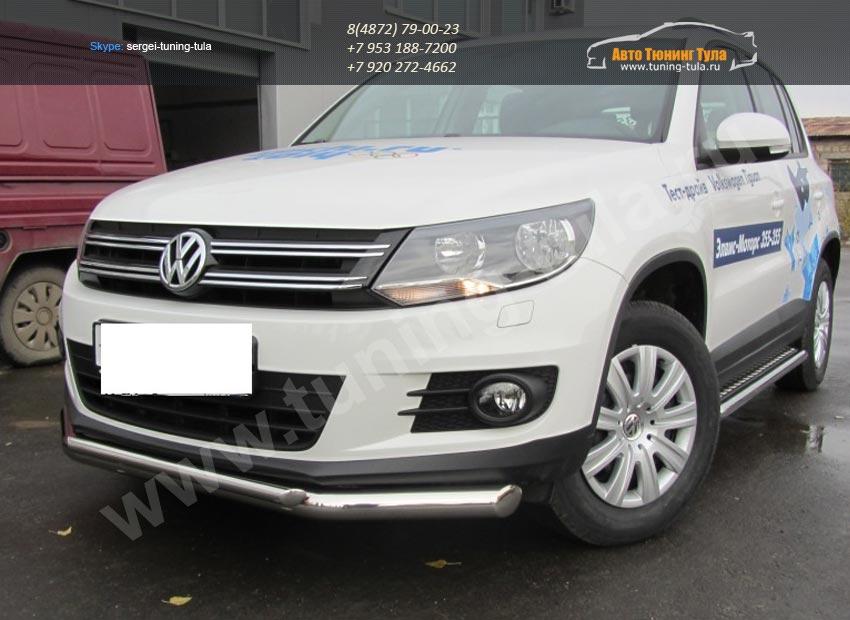 Защита передняя труба двойная d76+d42 VW Tiguan/Тигуан 2011г/арт.293-63