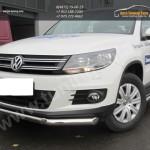 Защита передняя труба двойная d76+d42 VW Tiguan/Тигуан