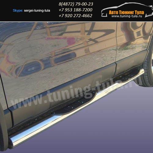Пороги труба с накладками d76 Honda CR-V III /арт290-01