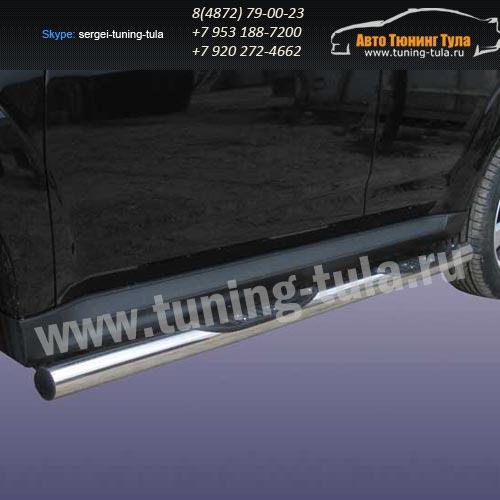 Пороги труба с накладками d76 Mitsubishi Outlander 2010 /292-8