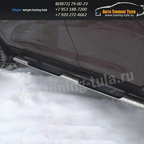 Пороги/Подножки d75x42 овал с накладками Honda CR-V III 2007+ / арт.149-2