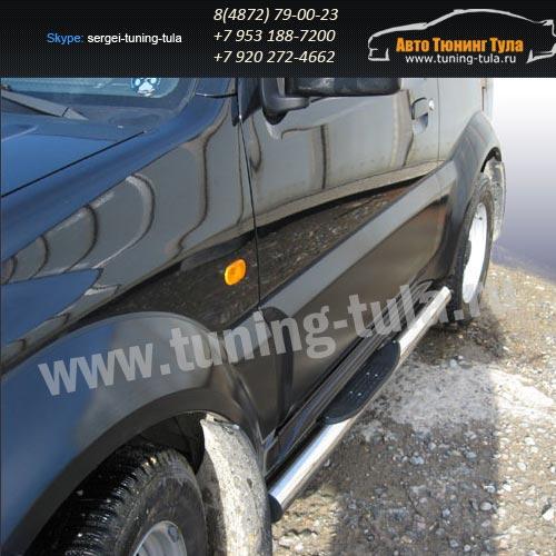 Пороги труба с накладками d76 Suzuki Jimny  /293-81