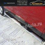 Пороги овальные d120x60 с накладкой TOYOTA RAV 4 New 2013+