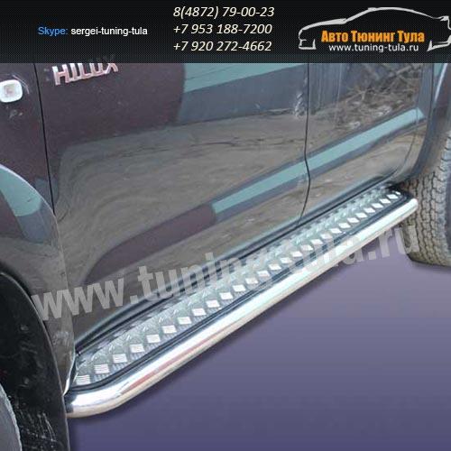 Пороги с листом d57 Toyota Hilux 2012+  /294-6