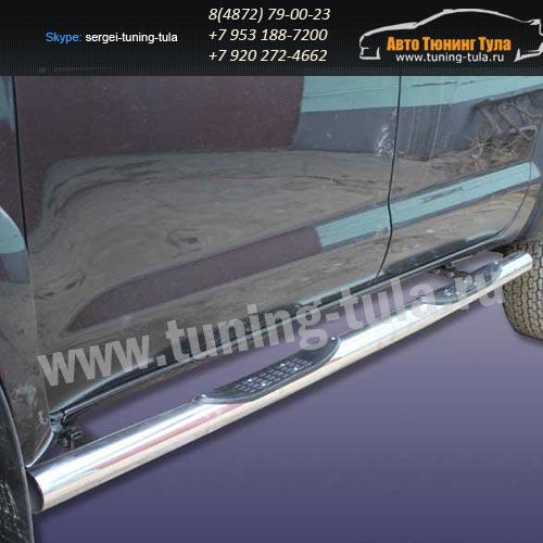 Пороги труба с накладками d76 Toyota Hilux 2012+  /294-4
