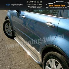 Пороги с площадкой d42.3 мм (алюминиевый лист) Subaru Tribeca 2008+  /295-87