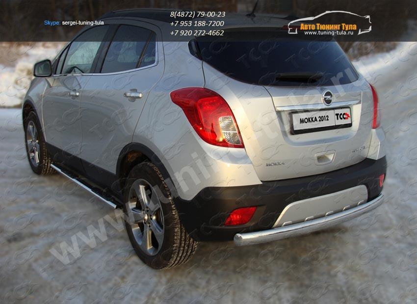 Защита задняя овальная d75х42 мм Opel MOKKA 4WD Turbo 2012+/арт.658-4