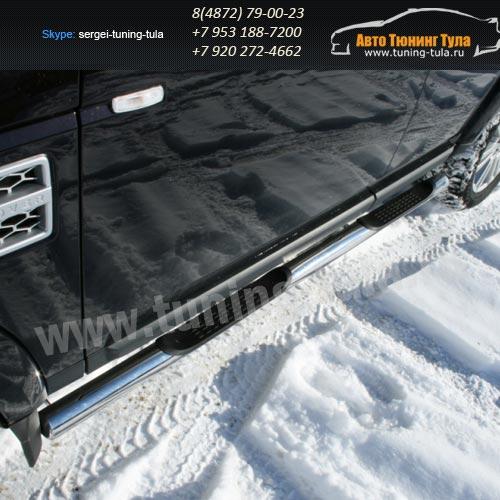 Пороги труба с накладками d76  Land Rover Discovery 4 2009+  /295-27