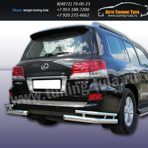 Защита задняя уголки d76+d42 Lexus LX-570 2012+  /295-57