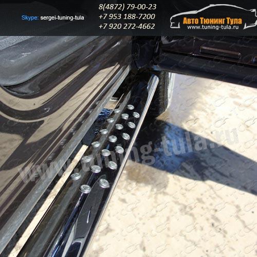 Пороги овальные d75x42 с проступью Subaru Tribeca 2008+  /295-86