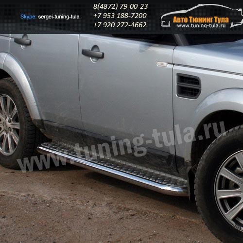 Пороги с листом d60 Land Rover Discovery 3 2004+  /295-22