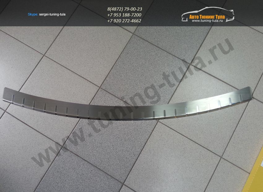 25-3674-Накладка заднего бампера двуслойная с загибом от царапин нерж. сталь MAZDA CX-5 /арт.636-1