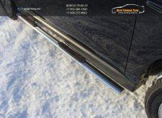 Пороги овальные d75х42 с накладками Митсубиши ASX  2013+/арт.649-7