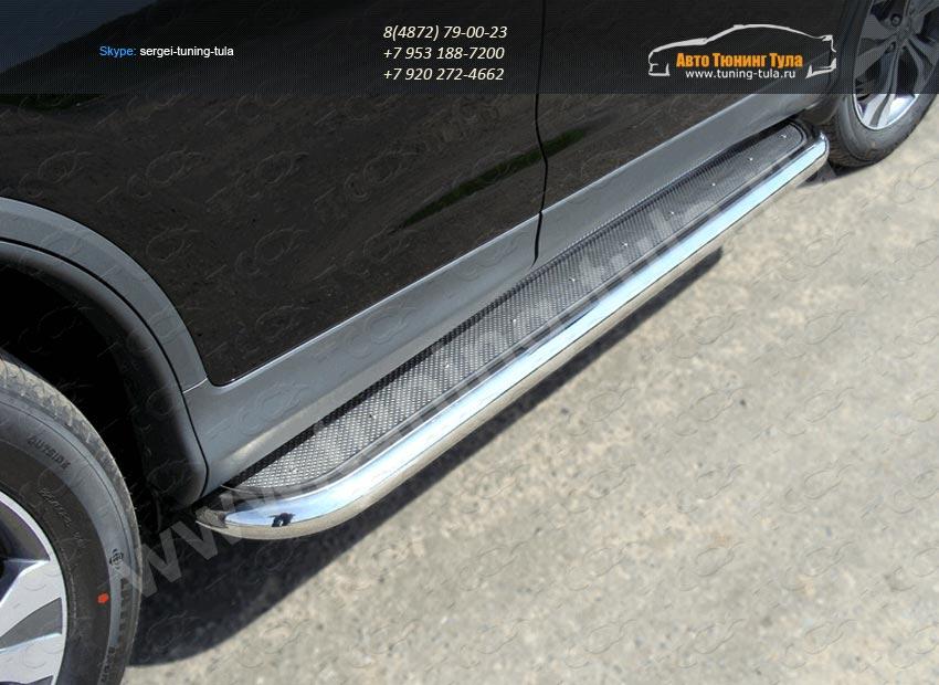 Пороги с площадкой нерж. лист труба  d60,3 мм  HONDA CR-V 2012+ /арт.693-5