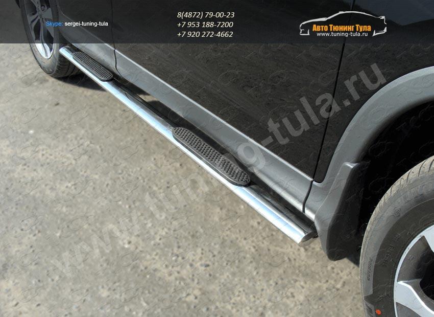 Пороги овальные с накладками труба  d75х42 мм  HONDA CR-V 2012+ /арт.693-9