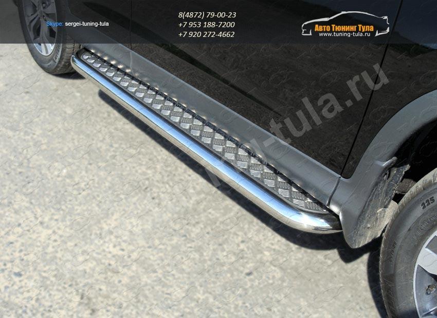 Пороги с площадкой алюминиевый лист труба  d60,3 мм  HONDA CR-V 2012+ /арт.693-6