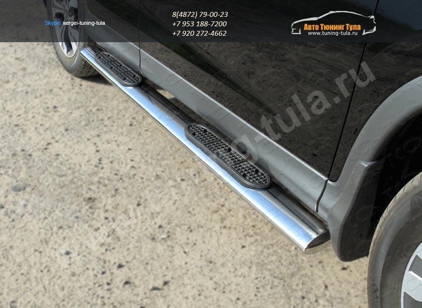 Пороги овальные с накладками труба  d120х60 мм  HONDA CR-V 2012+ /арт.693-8