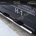 Пороги овальные d120x60 с накладками Хундай H1 2010г