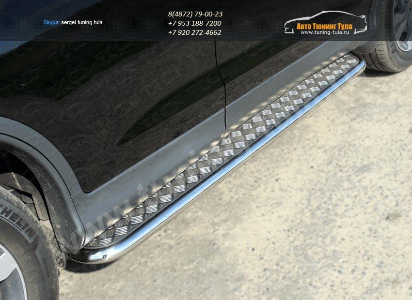Пороги с площадкой алюминиевый лист труба  d42,4 мм  HONDA CR-V 2012+ /арт.693-7