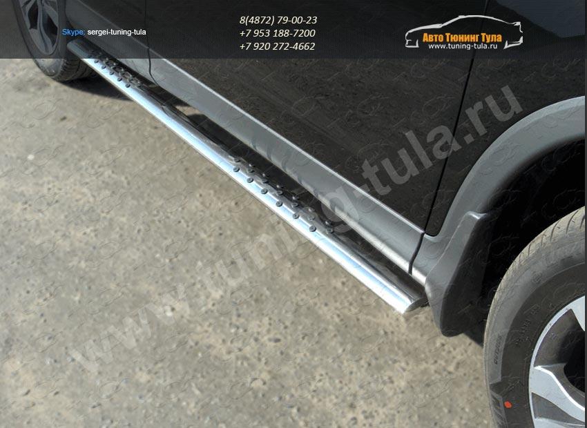 Пороги овальные с проступью труба  d75х42 мм  HONDA CR-V 2012+ /арт.693-10