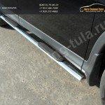 Пороги овальные с накладками труба  d75х42 мм  HONDA CR-V 2012+