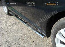 Пороги d75х42 овальные с накладками  Toyota VENZA 2013+ /арт.706-6