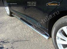 Пороги d120х60 овальные с накладками  Toyota VENZA 2013+ /арт.706-5