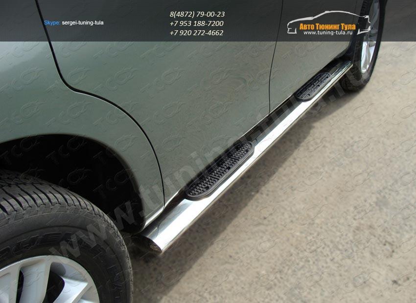 Пороги овальные  d120х60,3 мм с накладками Nissan PATROL 2010+/арт.702-5