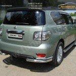 Защита заднего бампера уголки двойные d76,1/42,4 мм Nissan PATROL 2010+