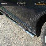 Пороги d75х42 овальные с накладками  Toyota VENZA 2013+
