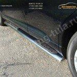 Пороги d120х60 овальные с накладками  Toyota VENZA 2013+
