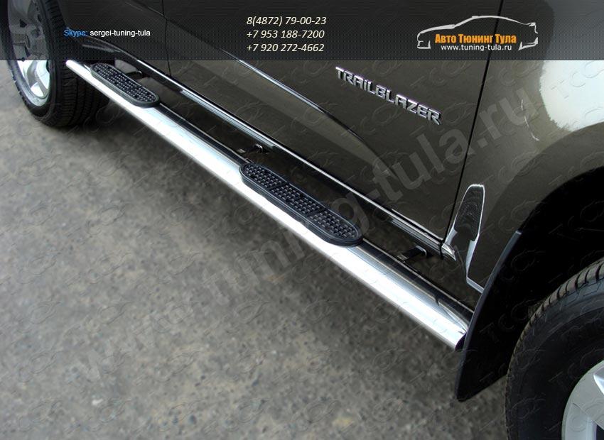 Комплект порогов 120х60мм овальные с накладками Chevrolet Trailblazer 2013+ /арт.719-5