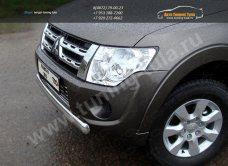 Защита переднего бампера 75×42мм овальная Mitsubishi Pajero IV 2013+/арт.657-3