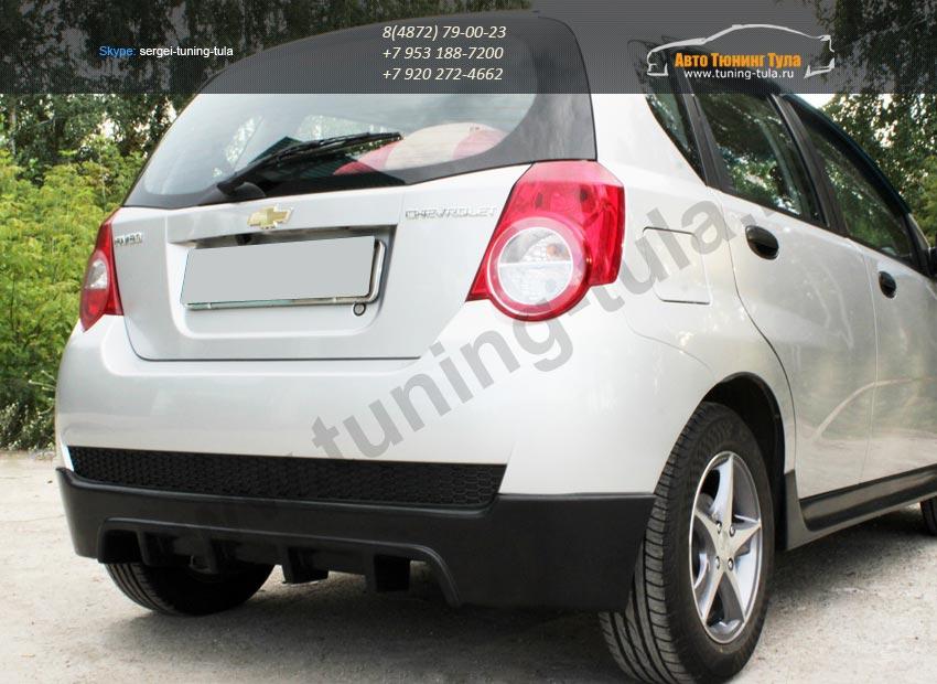 Накладка/Юбка заднего бампера хэтчбек Chevrolet AVEO 2005-2011 / арт.720-1