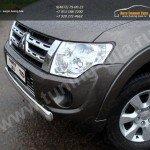 Защита переднего бампера 75x42мм овальная Mitsubishi Pajero IV 2013+