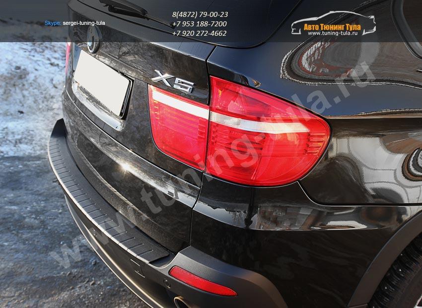 Накладка заднего бампера /АБС-пластик BMW X5 E70 2010 +/арт.221-1