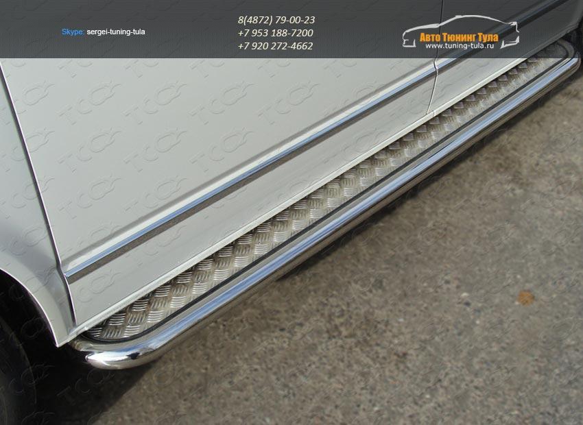 Пороги d60,3мм с площадкой алюминиевый лист VW T5 Multivan 2013+ / арт.727-6