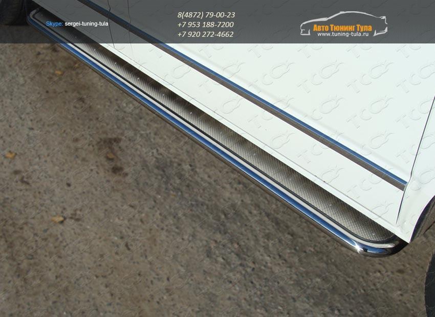 Пороги d42 с площадкой нерж. лист VW T5 Multivan 2013+ / арт.727-3